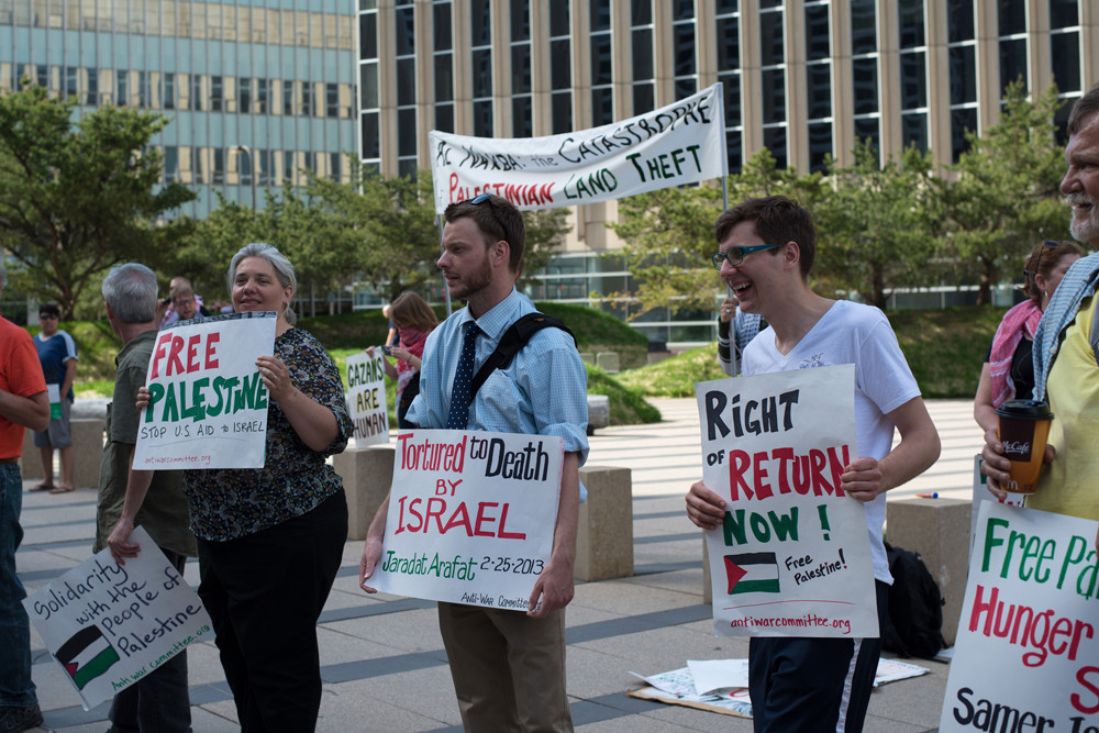 Pro-Palestinian protest in Minnesota, 2013. Each ministry has a different strategy to address the BDS movement