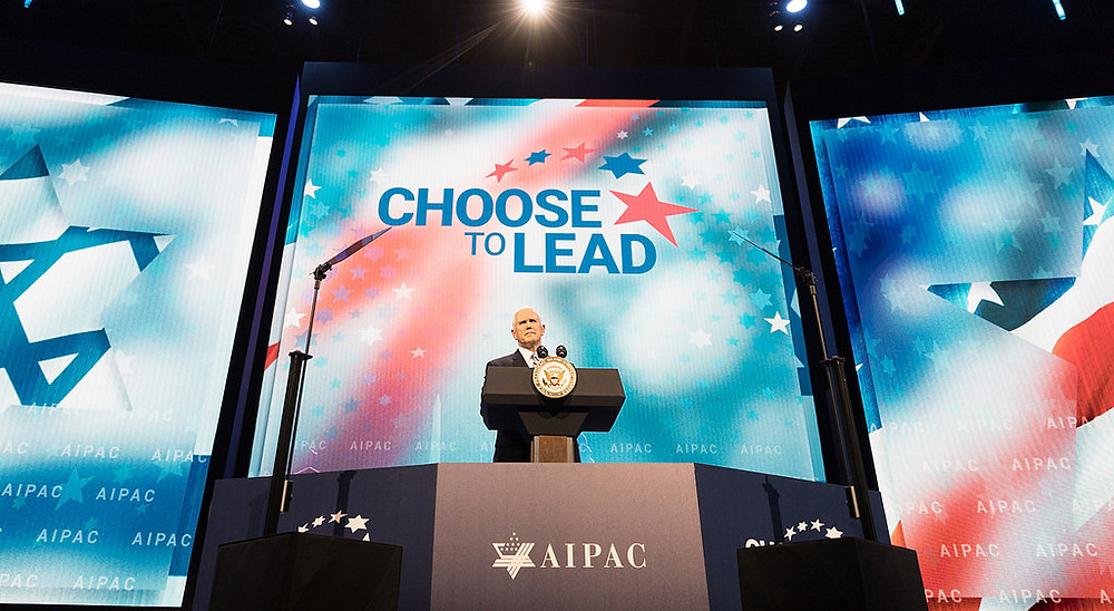 Vice President Mike Pence at the AIPAC conference, January 2018. Democrats are distancing themselves from Israel
