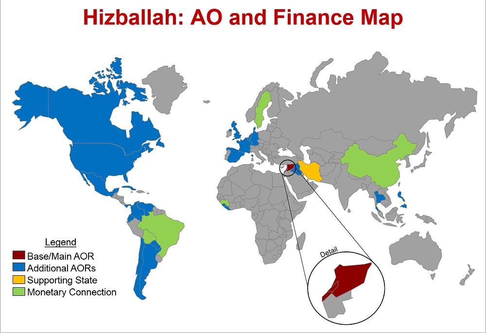 מפת פעילות ומימון עולמית של חיזבאללה, ב-2017