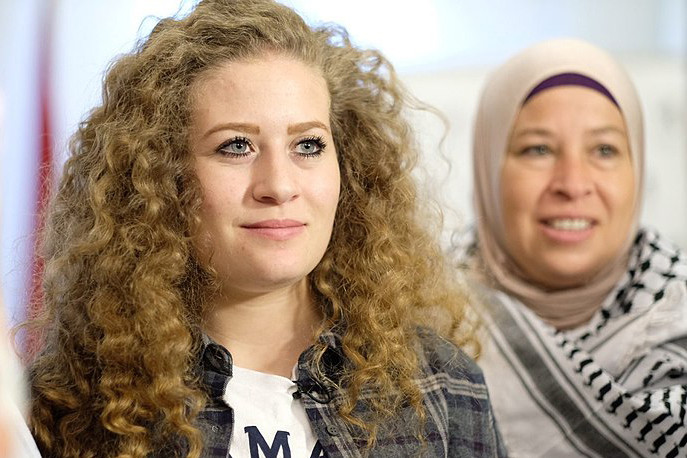Tamimi at the Ofer military detention center, January 2018