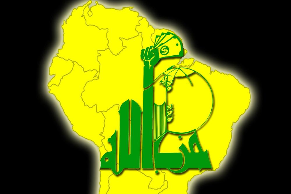 סמל חיזבאללה על רקע יבשת דרום אמריקה