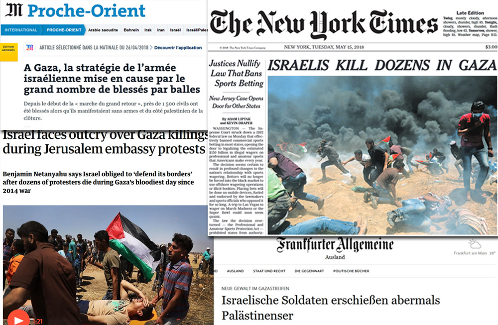 Screenshots of coverage of the Gaza demonstrations in The New York Times, Frankfurter Allgemeine Zeitung, The Guardian, and Le Monde