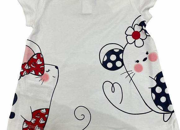 T-shirt blanc petites souris Mayoral