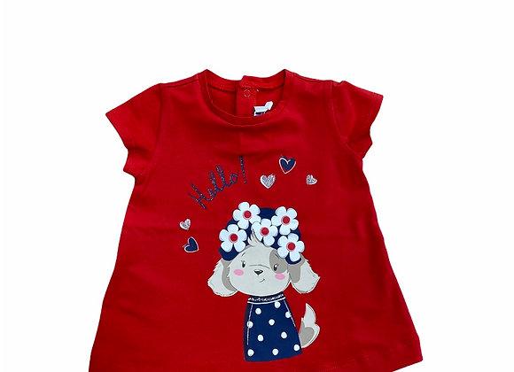 T-shirt rouge petit chien Mayoral