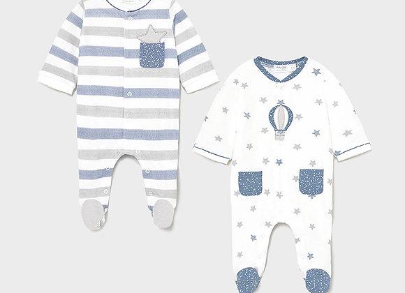 lot de 2 pyjamas nouveau-né Lake blue Mayoral