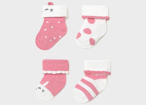 Set 4 chaussettes nouveau né fille bubble gum Mayoral