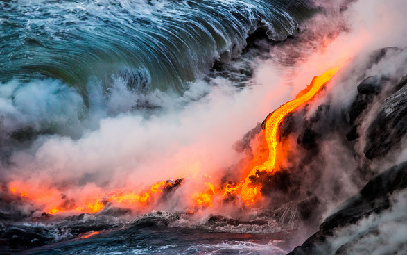 Hawaii Lava Ocean Entry