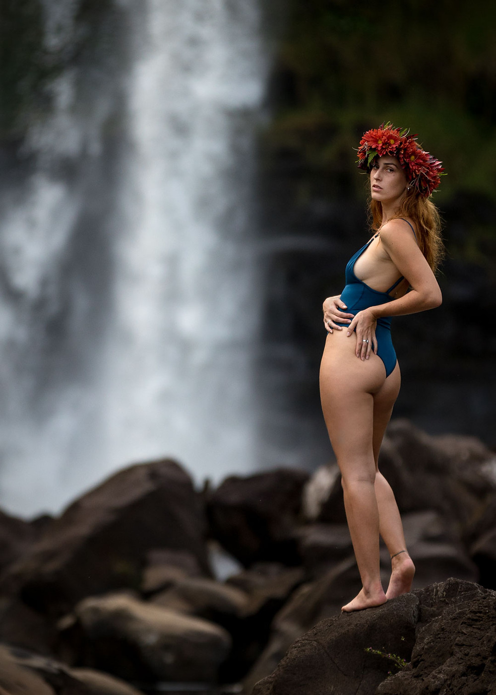 Evelyn in Swimsuit on the Wailuku River Hawaii