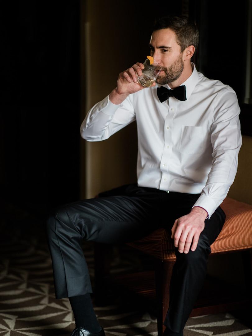 Groom Drinking Wisky