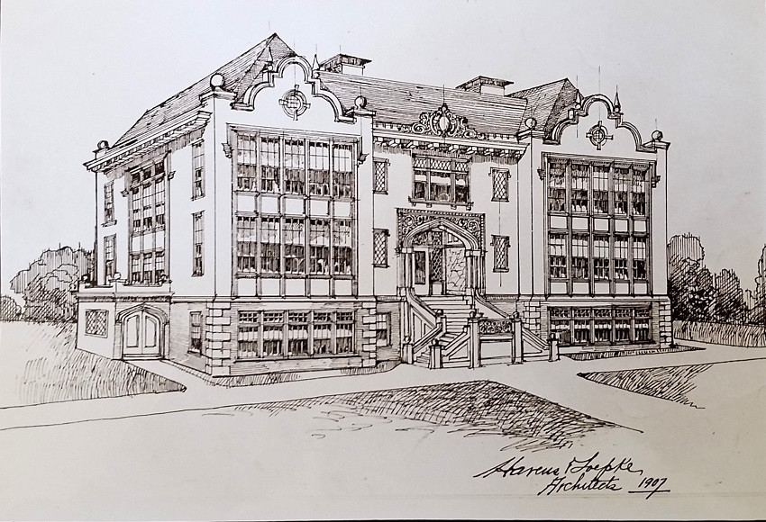 The architectural rendering of Glen Park Grammar School by architects Havens and Toepke, 1907. Image courtesy of OpenSFHistory.org.