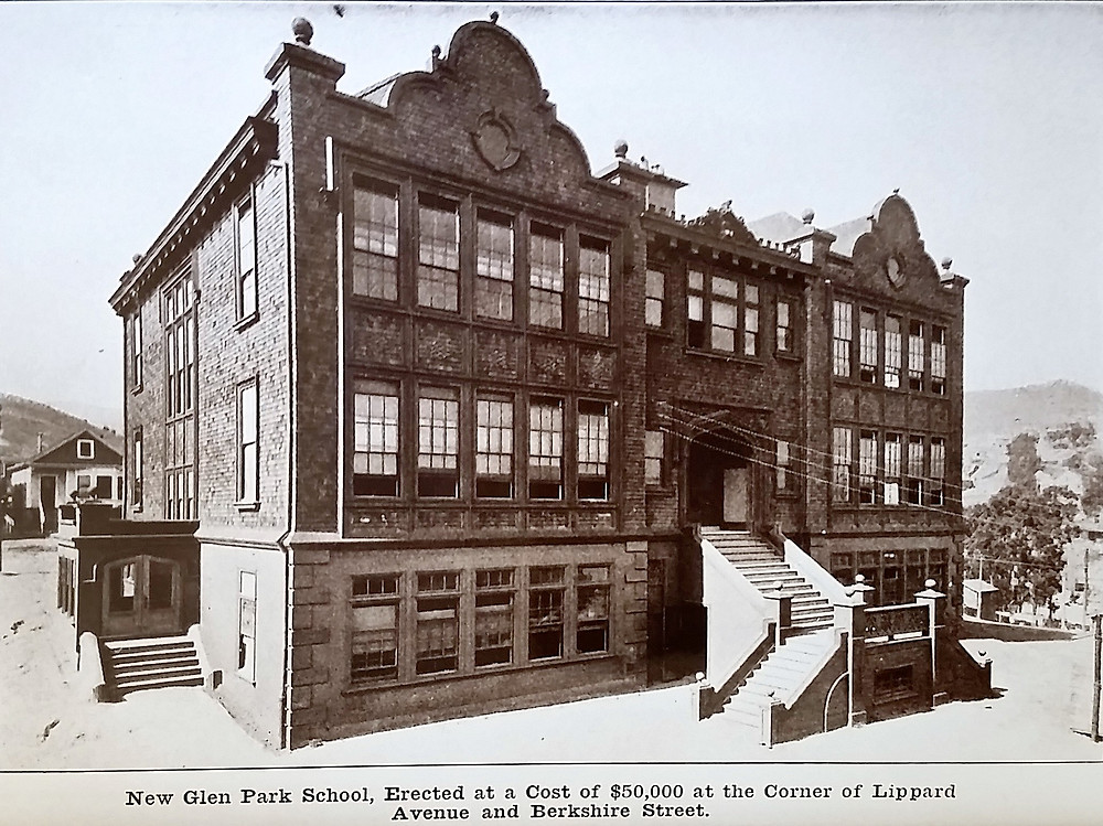Image of the newly constructed Glen Park Grammar School, ca. August 1908. Image courtesy of OpenSFHistory.org.
