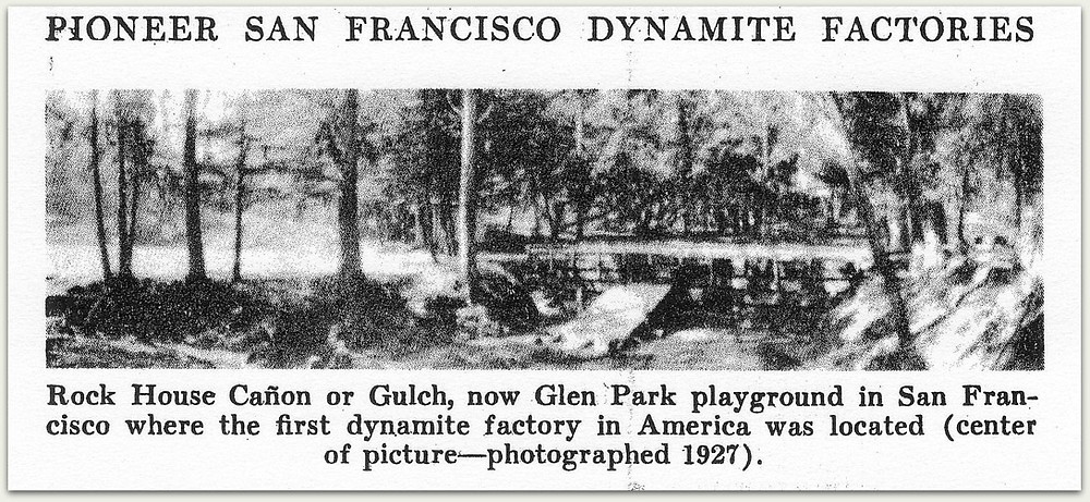 This grainy image from 1927 identifies the site of Giant Powder Company as being in the area of today's Glen Park Recreation Center. What appears to be a dam may be the earliest-constructed point of entry of Islais Creek into the combined water-sewer system north of the building. From van Gelder AP and Schlatter H. History of the Explosives Industry in the United States. New York: Columbia University Press. 1927.