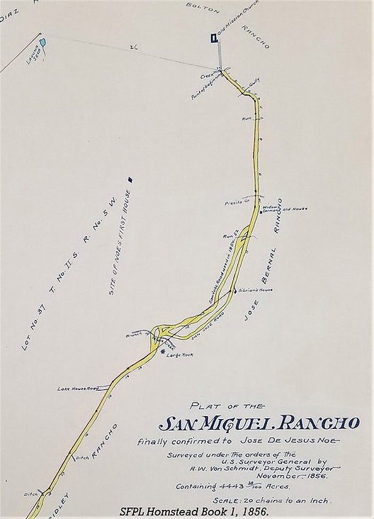 "Map 1. Survey map of the San Miguel Rancho owned by José de Jesús Noé, 1856, showing the Mission Road (El Camino Real) extending from Mission Dolores through the Rancho. The ""tangle"" is just left of center. Map from the San Francisco Homestead Books, San Francisco History Center, San Francisco Public Library."