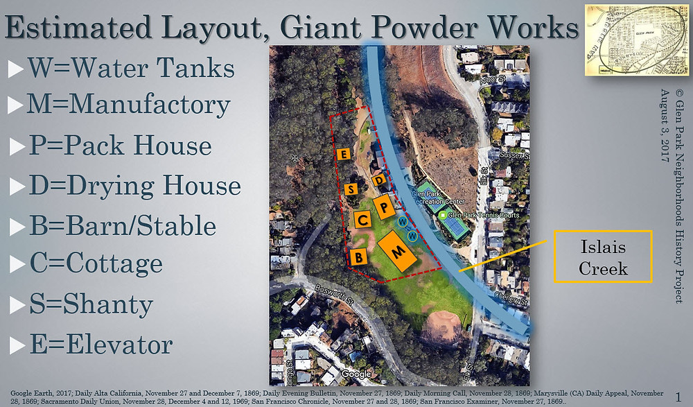 This proposed layout of the Giant Powder Company complex is based on several descriptions of the site in newspapers immediately following the blast. Islais Creek, the blue curve in the image, now runs underground beneath the Glen Canyon Park Recreation Center. Image by Evelyn Rose, Glen Park Neighborhoods History Project.