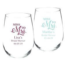Miss to Mrs Bridal Shower Stemless Wine Glass