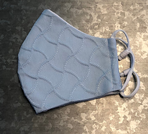 Sky Blue Quilted Face Mask