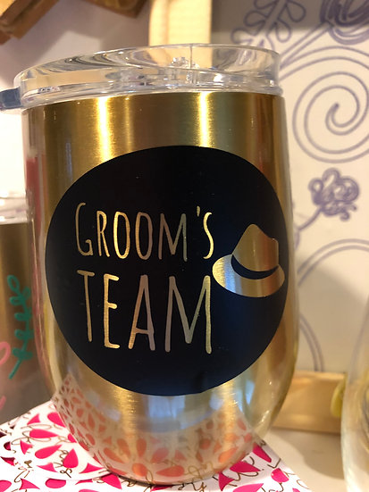 Groom's Team Stainless Steel Drink Glass