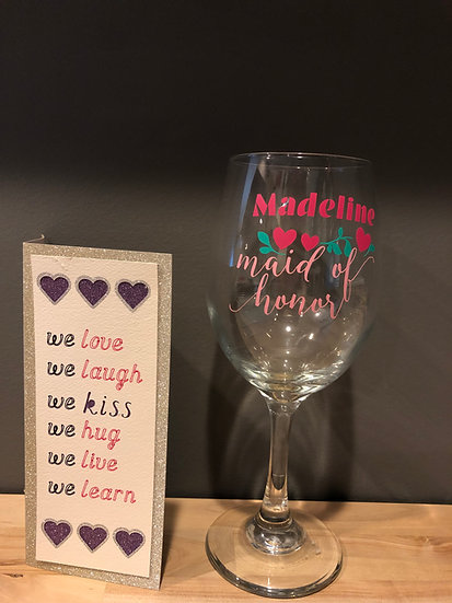 Custom Maid of Honor Wine Glass