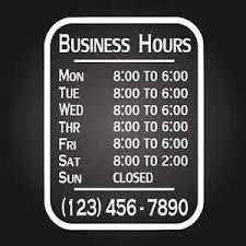 Business Hours Vinyl Sign