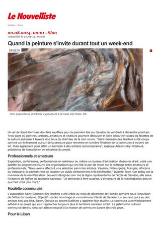 Critiques de l'exposition dans Le Nouvelliste