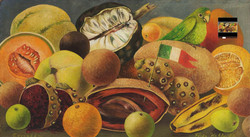 Naturaleza muerta con perico y bandera-Copia obras arte famosas frida kahlo