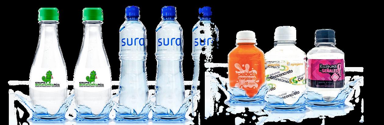 Botellas de agua con el logo de la empre