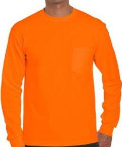 Camibuso manga larga bolsillo naranja se