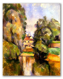 Casa de campo con rio-Copia obras arte paul cezanne