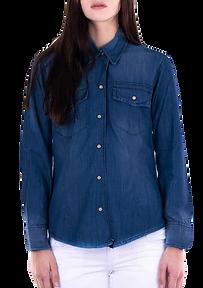 Camisas en jean para mujer manga larga d