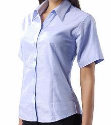 Camisa oxford para mujer manga corta dot