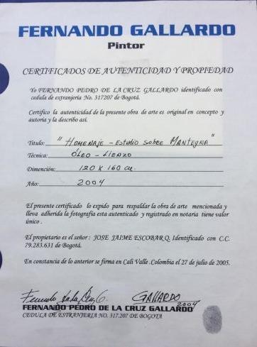 Homenaje a Mantegna - Certificado de autenticidad