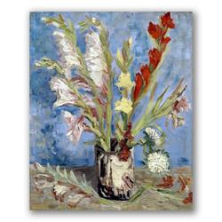 Jarrón de Gladiolos y Aster-Copia obras arte famosas vincent van gogh