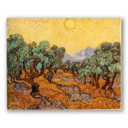 Olivos con cielo amarillo y sol-Copia obras arte famosas vincent van gogh