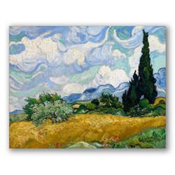 Campo de trigo con cipreses-Copia obras arte famosas vincent van gogh