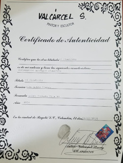 El Flautista - Certificado de Autenticid