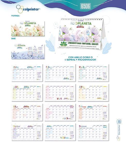Almanaques y calendarios publicitarios escritorio ecoplaneta ref 6506 medellin.JPG