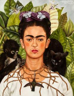 Autorretrato con un collar de espina y un colibri-Copia obras arte famosas frida kahlo