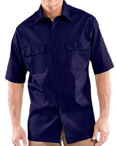 Camisa manga corta dril botones azul osc