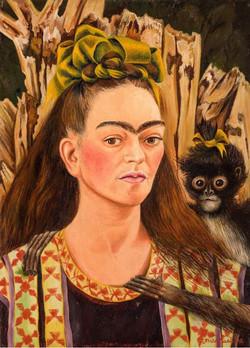 Autorretrato con mono-Copia obras arte famosas frida kahlo