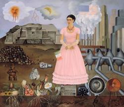 Autorretrato en frontera entre mexico y estados unidos-Copia obras arte famosas frida kahlo