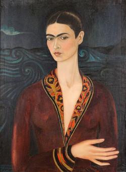 Autorretrato con vestido de terciopelo-Copia obras arte famosas frida kahlo