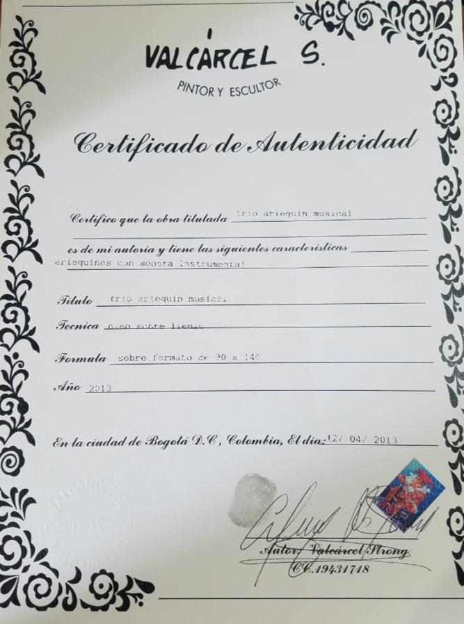 Trio Arlequines Música - Certificado de