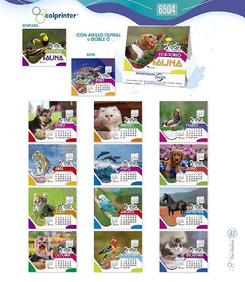Almanaques y calendarios publicitarios escritorio especial fauna ref 6504 medellin.JPG