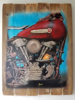 La vieja Harley 2 - Obras de arte Aerografo