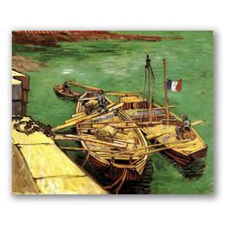 Muelle con hombres descargando barcazas de arena-Copia obras arte famosas vincent van gogh