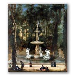 La fuente de los tritones en el jardín de la isla de Aranjuez-Copia obras arte diego velazquez