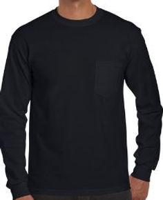 Camibuso manga larga bolsillo negro gild