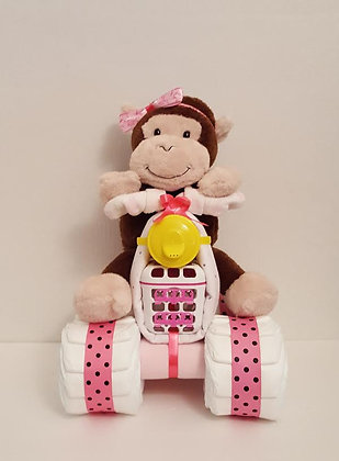 Monkey on a Quad Motorcycle Diaper Cake for Girls