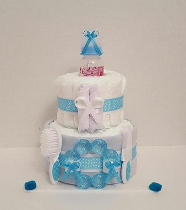 Little Baby Blue Diaper Cake 2 Tier