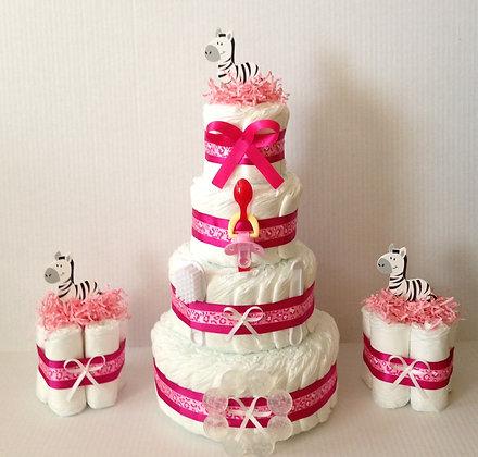 Combo Pink Zebra Diaper Cake style #2